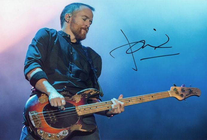 Dave Farrell, Linkin Park, signed 12x8 inch photo.